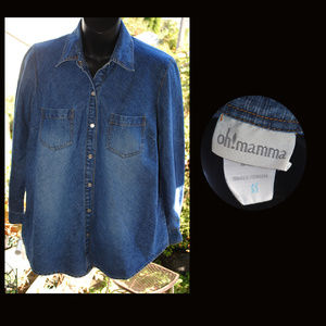 OH! MAMMA Snap-front Denim Maternity Shirt Size S